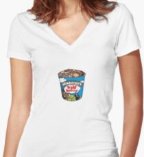 ben and jerrys half baked ice cream Women's Fitted V-Neck T-Shirt