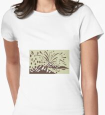 Volcano Eruption Island Woodcut Women's Fitted T-Shirt