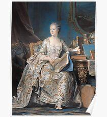 Maurice-Quentin De La Tour - Jeanne Poisson The Marquise De Pompadour. Woman portrait: sensual woman, book,  brocade, costume, courtier, beautiful dress,  lady, madame, love, marquise de pompadour Poster