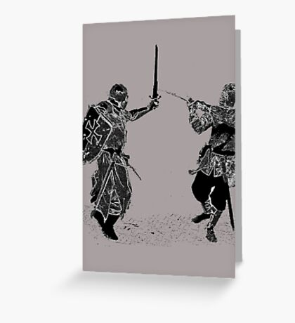 For victory wear a t-shirt: Medieval knights fight! Greeting Card