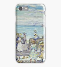 Maurice Brazil Prendergast - Opal Sea. Beach landscape: sea view, yachts, holiday, sailing boat, coast seaside with people, waves and beach, marine, sun and clouds, nautical panorama, coastal travel iPhone Case/Skin