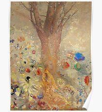 Odilon Redon - The Buddha 1904. Garden landscape: garden, trees and flowers, blossom, nature, Buddha , buddhism, meditating, think, meditation, relaxation, rest Poster