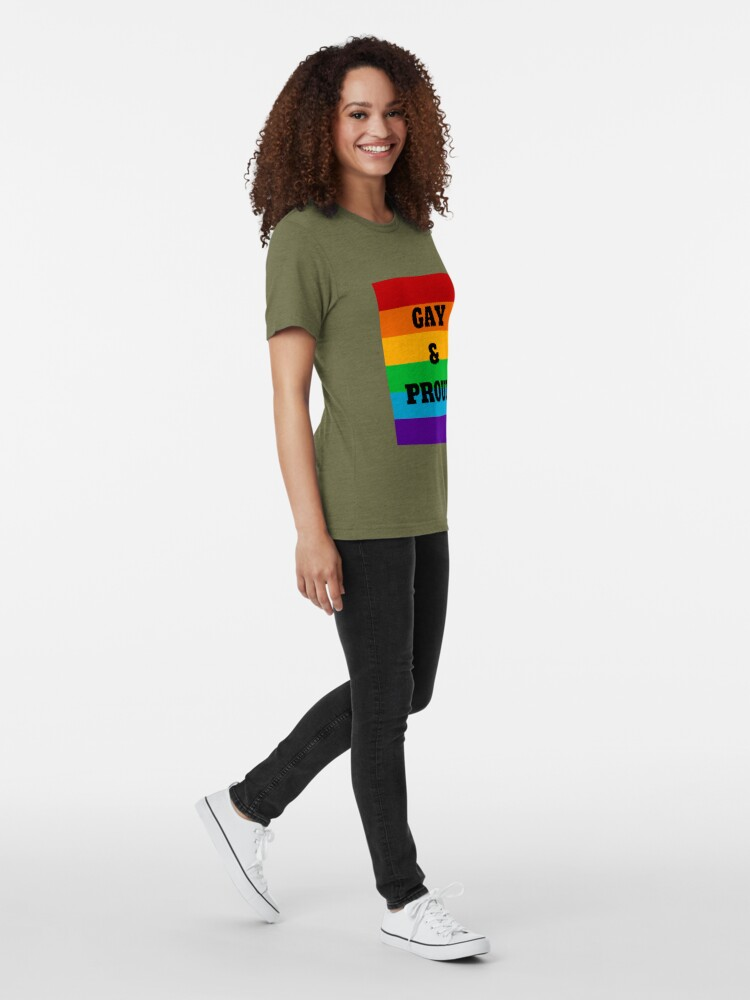 Alternate view of Gay and Proud Tri-blend T-Shirt