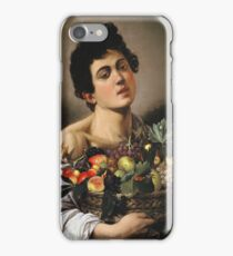 Michelangelo Merisi Da Caravaggio - Boy With Basket Of Fruit. Man portrait: Young man, curly head, male, secular,  young, masculine, boyfriend, smile, still life , sexy men,  fruits iPhone Case/Skin
