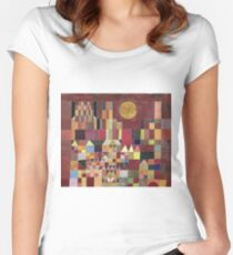 Paul Klee - Castle And Sun. Abstract painting: abstract art, geometric, Castle , composition, lines, forms, Sun, spot, shape, illusion, fantasy future Women's Fitted Scoop T-Shirt