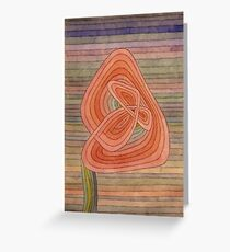 Paul Klee - Lonely Flower. Abstract painting: abstract art, geometric, Lonely ,  Flower, lines, forms, creative fusion, spot, shape, illusion, fantasy future Greeting Card