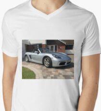 718 Porsche Boxster, front view. Men's V-Neck T-Shirt