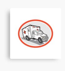 Ambulance Emergency Vehicle Cartoon Canvas Print