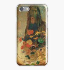 Odilon Redon - Mystery 1910. Garden landscape: garden view, trees and flowers, blossom, nature, woman, Mystery, wonderful flowers, dream, think, garden, flower iPhone Case/Skin