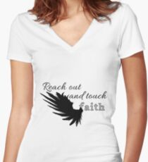 Reach out and touch faith Women's Fitted V-Neck T-Shirt