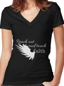 Reach out and touch faith -white Women's Fitted V-Neck T-Shirt