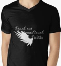 Reach out and touch faith -white Men's V-Neck T-Shirt