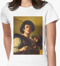 Michelangelo Merisi Da Caravaggio - Boy With A Carafe Of Roses . Man portrait: Young man, curly head, male, secular,  young, masculine, boyfriend, smile, still life , sexy men, Roses  Womens Fitted T-Shirt