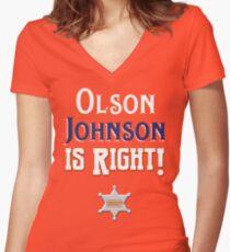 Olson Johnson is Right! Shirt mit V-Ausschnitt