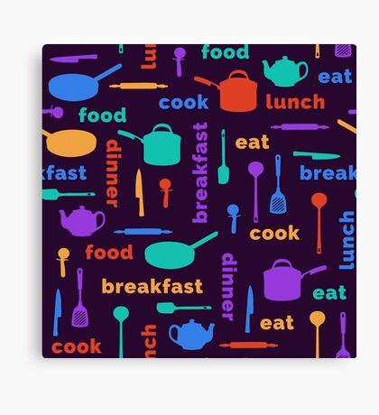 Kitchen Fun Pattern Canvas Print
