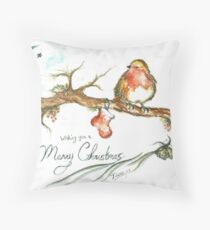 Merry Christmas Robin Throw Pillow