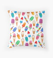 Summer Pops and Ice Cream Dreams Throw Pillow