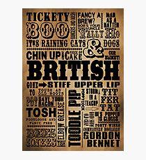 VINTAGE BRITISH SAYINGS Photographic Print