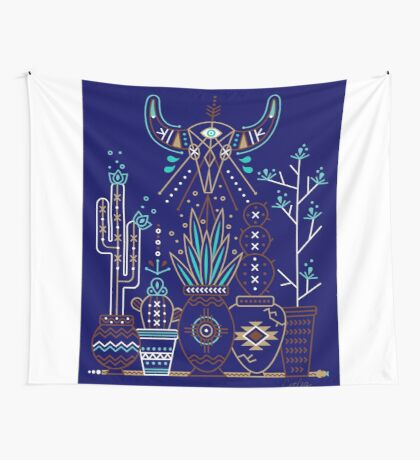 santa fe garden navy wall tapestry: new mexico home decor