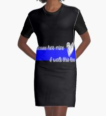 LEO Wife Thin Blue Line - Because he's mine I walk this line Graphic T-Shirt Dress