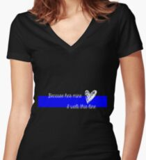 LEO Wife Thin Blue Line - Because he's mine I walk this line Women's Fitted V-Neck T-Shirt