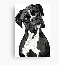 Black and White Boxer Art Canvas Print