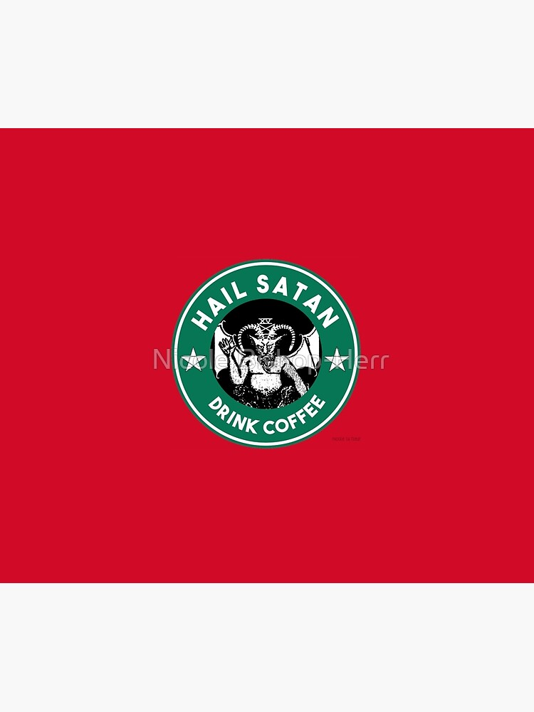 Hail Satan... Drink Coffee! Red Coffee Cup Design with the Devil by studi03
