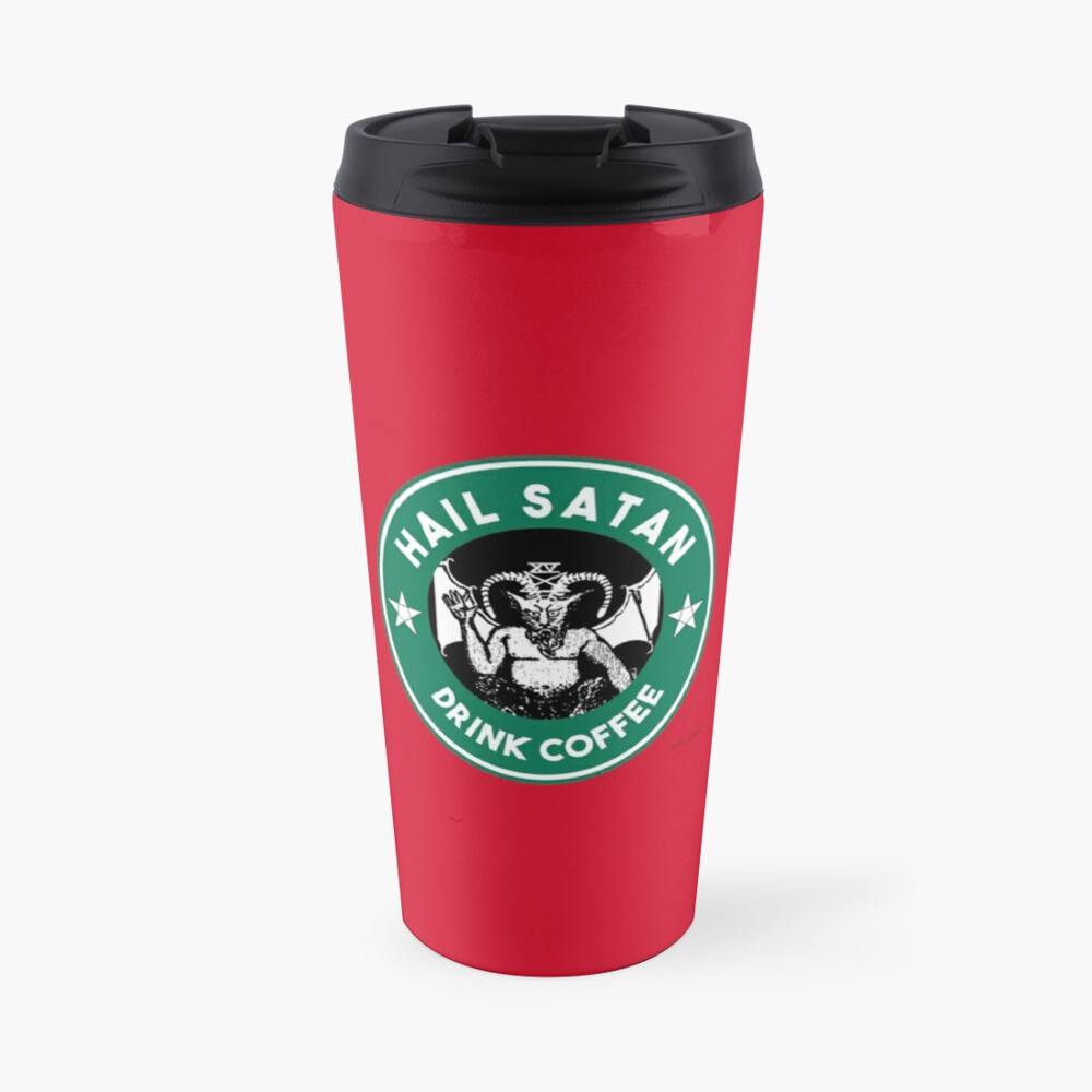 Hail Satan... Drink Coffee! Red Coffee Cup Design with the Devil Travel Mug