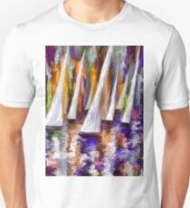 Wind on Sails Panorama by Lena Owens T-Shirt