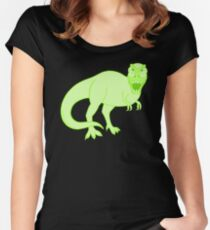 Green T Rex Dinosaur Colorful Prehistoric Animal Women's Fitted Scoop T-Shirt