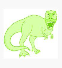 Green T Rex Dinosaur Colorful Prehistoric Animal Photographic Print