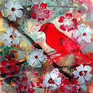 "Red Bird Singing by Belinda ""BillyLee"" NYE (Printmaker)"