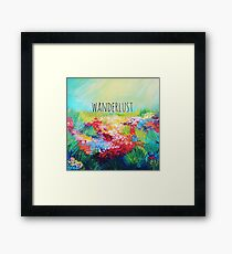 WANDERLUST Colorful Abstract Floral Nature Hipster Typography Adventure Painting Framed Print