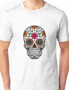 Colorful Sugar Skull & Retro FlowersPattern Background T-Shirt