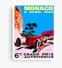"""MONACO"" Grand Prix Automobile Racing Print Canvas Print"