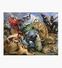 Peter Paul Rubens - The Tiger Hunt. People portrait: Men, horses, soldier, warrior, fight, death, leopard, lion, hunter, armour, spear Photographic Print