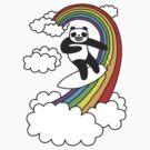 Pandas Surf Rainbows by obinsun