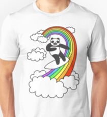 Pandas Surf Rainbows T-Shirt