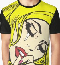 Blonde Crying Comic Girl Graphic T-Shirt