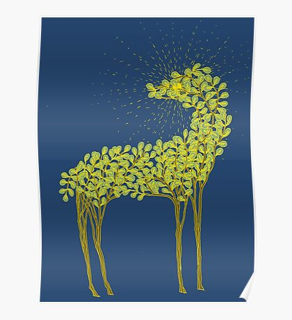 Tree horse with sunburst Poster