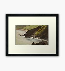 Cliff top view of Sharkham Point. Framed Print