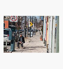 The Man In The Sidewalk In The Junction Photographic Print