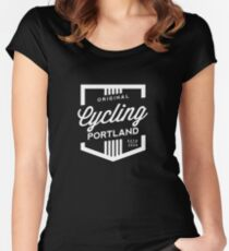 Cycling Portland Badge Women's Fitted Scoop T-Shirt