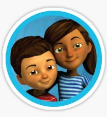 Caleb and Sophia (round blue frame) Sticker