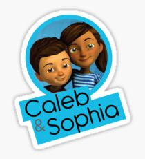 Caleb and Sophia (circle blue) Sticker