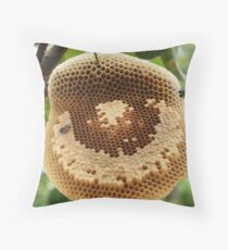 Bees on honycomb Throw Pillow