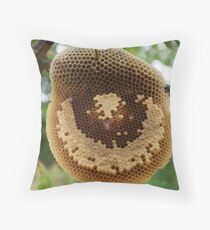 Bees on honeycomb Throw Pillow