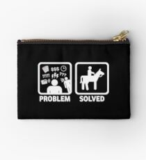 Funny Horse Riding Problem Solved Zipper Pouch