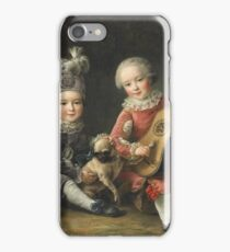 Jean-Germain Drouais - Children Of The Marquis De Bethune Playing With A Dog 1761. Child portrait: sons , Dog,  pug , paw, strum , guitar, costume, childhood, cute baby, small, pretty angel iPhone Case/Skin