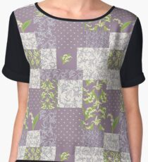 Lily-of-the-Valley Faux Patchwork Mauve Women's Chiffon Top